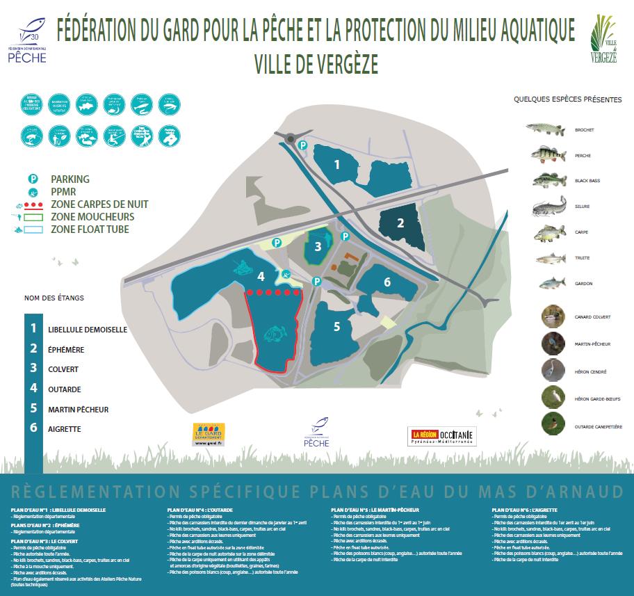 Description des étangs de Vergèze